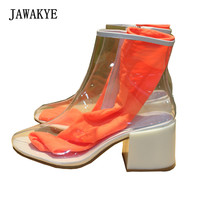 JAWAKYE Transparents PVC Clear Boots Women Chunky High Heels Candy Color Rain Proof Summer Boots Woman