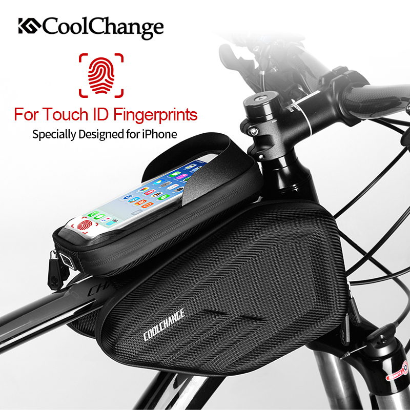CoolChange Bicycle Bag Frame Front Head Top Tube Waterproof Cycling Bag Double IPouch 6.0 6.2 Inch Touch Screen Bike Accessories boodun bd b04 bicycle bike top tube double bag black