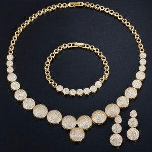Image 2 - CWWZircons 3 Pcs Hohe Qualität Cubic Zirkon Dubai Gold Halskette Schmuck Set für Frauen Hochzeit Abend Party Kleid Zubehör T349