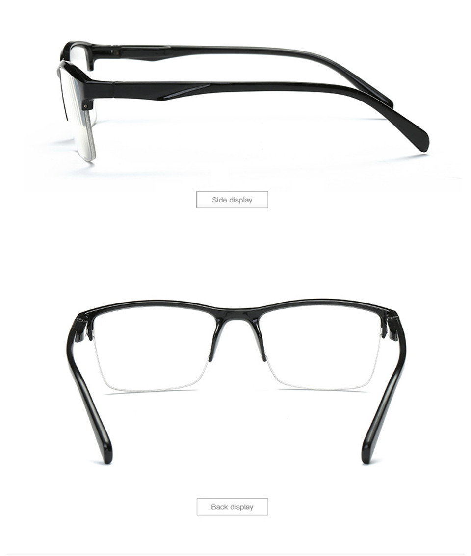 HTB1tkEDKQzoK1RjSZFlq6yi4VXan - iboode Half Frame Reading Glasses Presbyopic Eyewear Male Female Far sight Glasses Ultra Light Black with strength +75 to +400