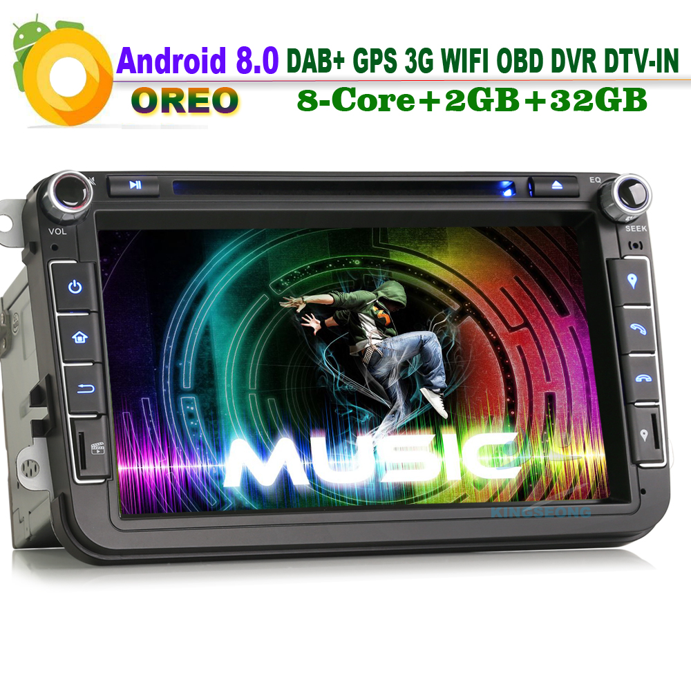 8 Core DAB+Android 8.0 Car Stereo GPS Bluetooth for VW Touran Car Multimedia DVD Player Wifi 3G OBD DVR DTV IN 2GB RAM Radio RDS