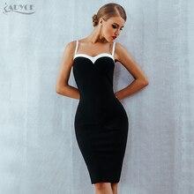 Adyce 2020 verano Bodycon vendaje vestido mujeres VestidosSexy sin tirantes negro y blanco Midi Runway Celebrity vestido de fiesta, de noche, de discoteca