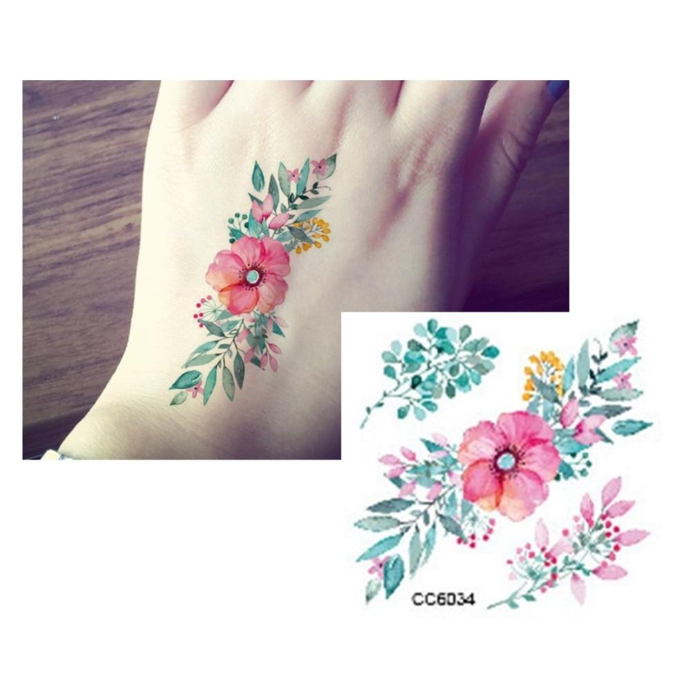 Aliexpress Buy 3d Flower Tattoo Decals Body Art Decal Pink