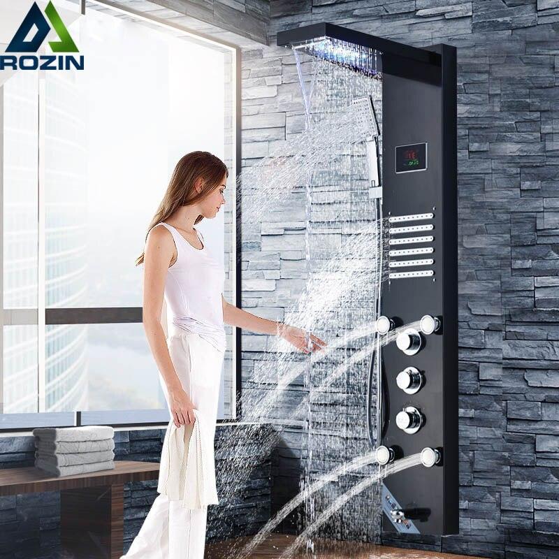 Светодиодный свет Душ Панель кран водопад дождь Насадки для душа SPA гидромассажем душевая колонна башня цифровой Температура воды Дисплей