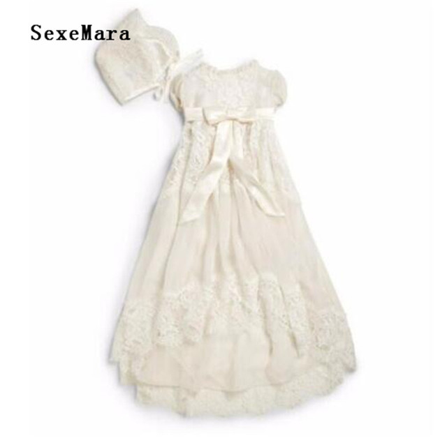3d6aa05ed Ivory White Baby Girls Baptism Dress Infant Birthday Gowns with Lace  Applique Christening Dress Custom Made for 0-24 Months Baby