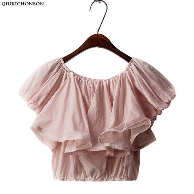a756f30b3799a4 Cute Pink Tops Ladies 2018 Summer Ruffle Blouse Off Shoulder Crop Top 90S  Kawaii Puff Sleeve