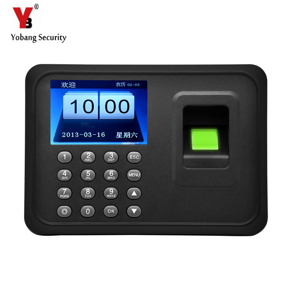 YobangSecurity 2.4 Inch TFT Biometric Fingerprint Time Attendance Clock USB Recorder Employee Recognition Checking-In Recorder