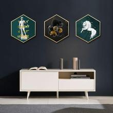 Nordic style INS Pegasus Sofa background wall Hanging pictures decorative paintings hexagon Wall Entrance mural