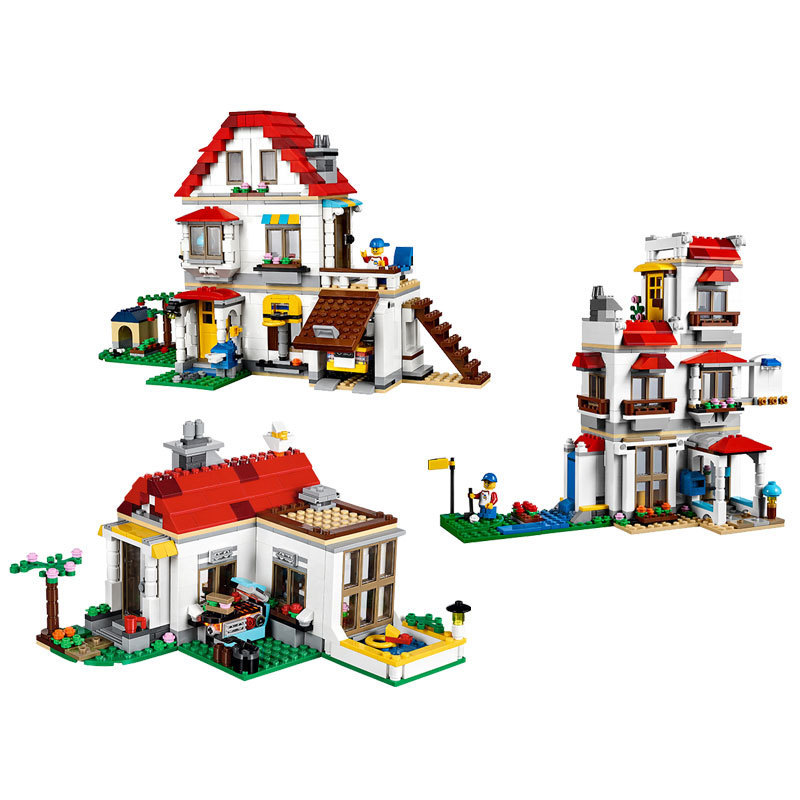 24046 815pcs Creative Series Family Villa Model Building Blocks Bricks Educational Toys Kids Gift compatible 31069