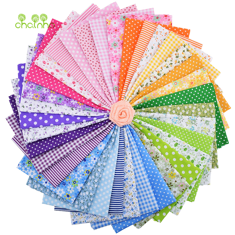 35tk / partii Plain Thin Cotton Fabric Patchwork DIY Quilting õmblusrasvade jaoks Bundle Tissue Telas Tilda nõel 50 * 50cm