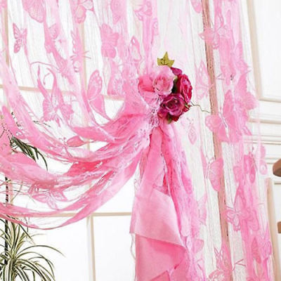 1 Piece New Lace Net Curtain Butterfly String Room Window Tassel Panel Decor 11 Colors Curtains     - title=