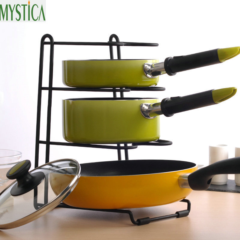 Multi-layer Kitchen Storage Racks Multi-Purpose Pot Pan Cookware Lid Chopping Block Storage Shelf Home Organizer Holder Stand