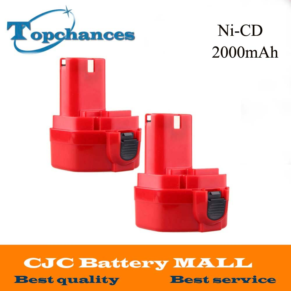 Free Shipping 2PCS 2 0Ah 12V Rechargeable Ni CD Battery for MAKITA 1220 1222 192598 2