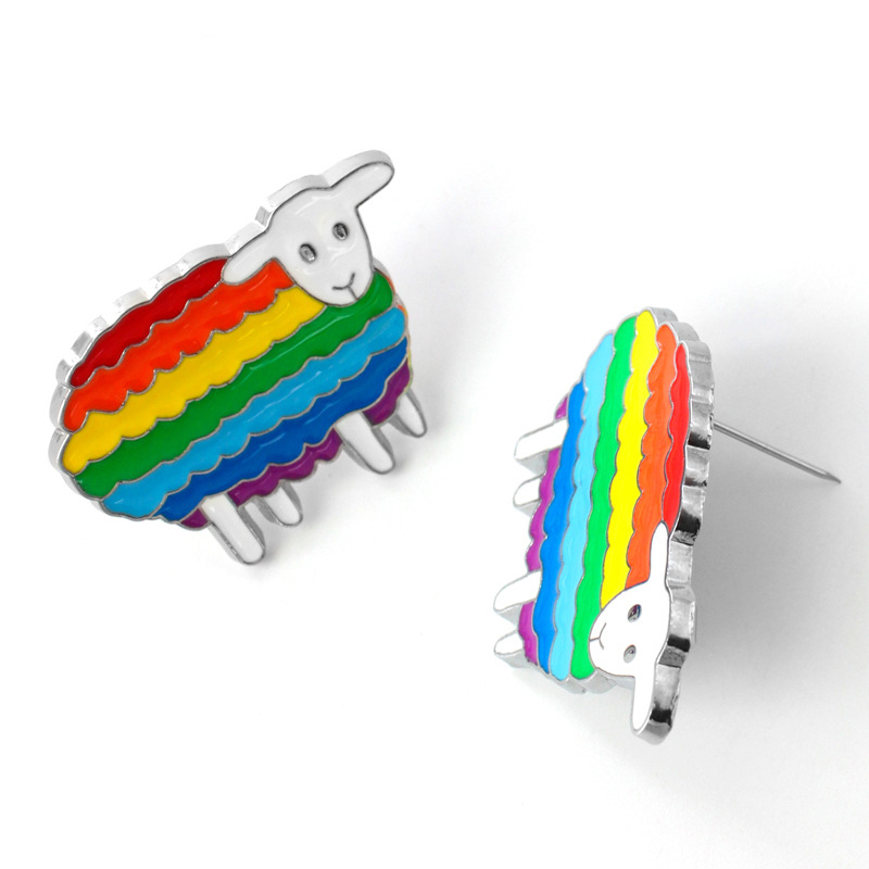 K32 Rainbow Sheep Colorful Enamel Pins and Brooches for Women Men Lapel Pin Backpack Bags badge Couple Gifts in Brooches from Jewelry Accessories