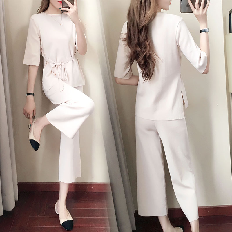Knitted Two Piece Sets Women Short Sleeve Lace-up Tunics And Wide Leg Pants Sets Suits Office Elegant Korean Casual Women's Sets 30