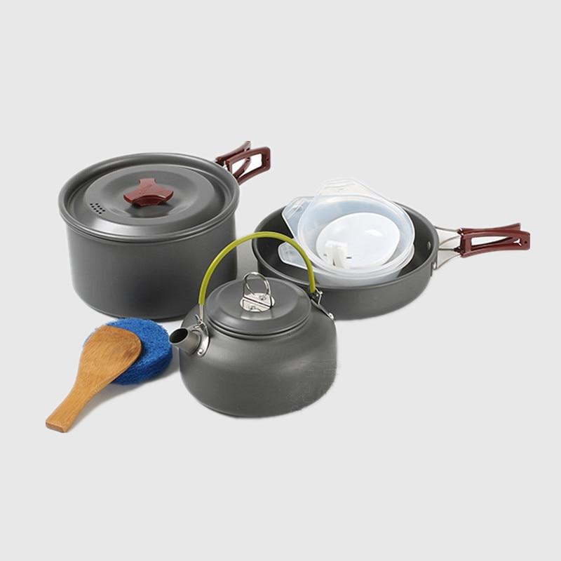 Brand 2-3 Person Camping Cooking set Portable Outdoor Hiking Picnic BBQ Aluminum alloy cookware teapot pan pot set utensil RT206 выключатель 1 клавишный marin v01 43 z11 s