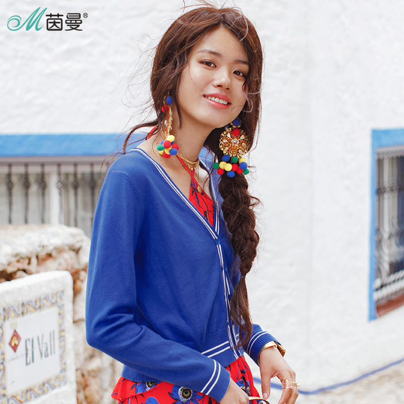 INMAN 2018 Spring New Striped V-Neck Knitted Long Sleeve Cardigans Women Cardigans