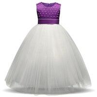 Kid Girl Pearl Wedding Flower Girls Dress High Quality Princess Pageant Formal Dress Wedding Birthday Party