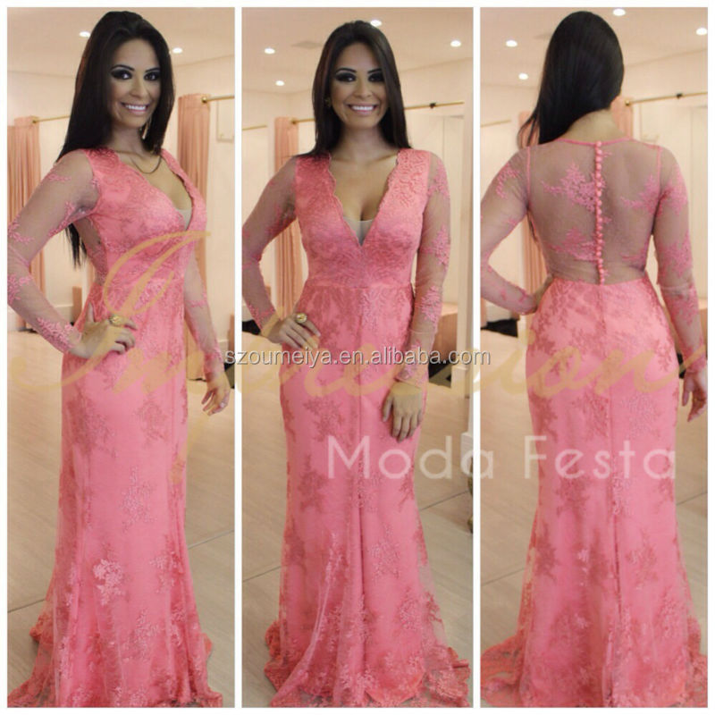 Online Buy Wholesale coral mermaid prom dress long sleeve from ...