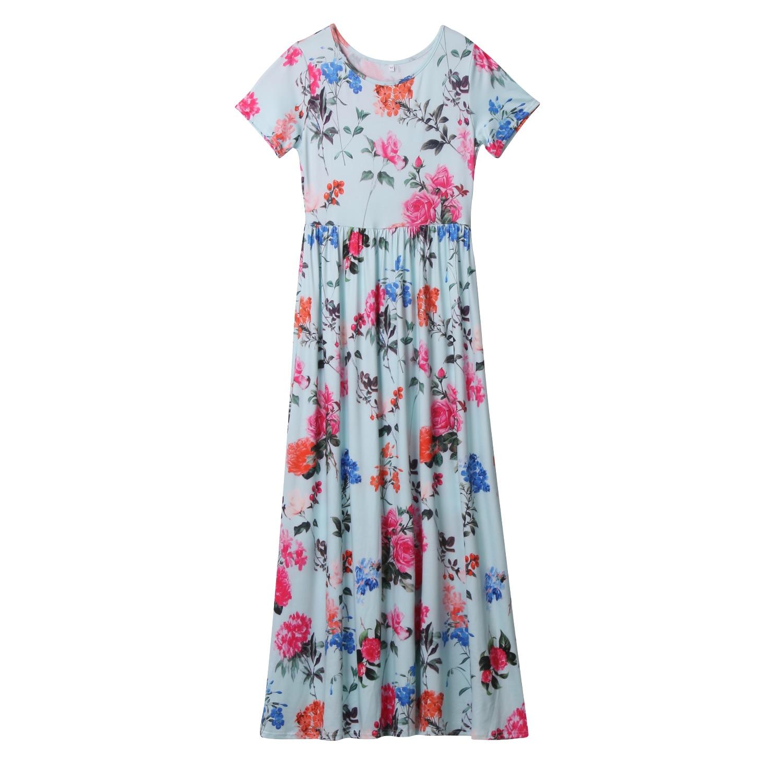 Women Summer Beach Sundress Dresses Ladies Floral Maxi Dress Sleeve Casual Party O Neck Flower Women