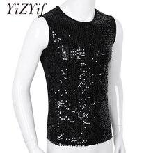 YiZYiF Mens Sequin Tank Top Shiny Crop top Vest Crew Neck Slim Vest Sexy WetLook Tank Top Clubwear Tee Muscle Tank Men Vest Top