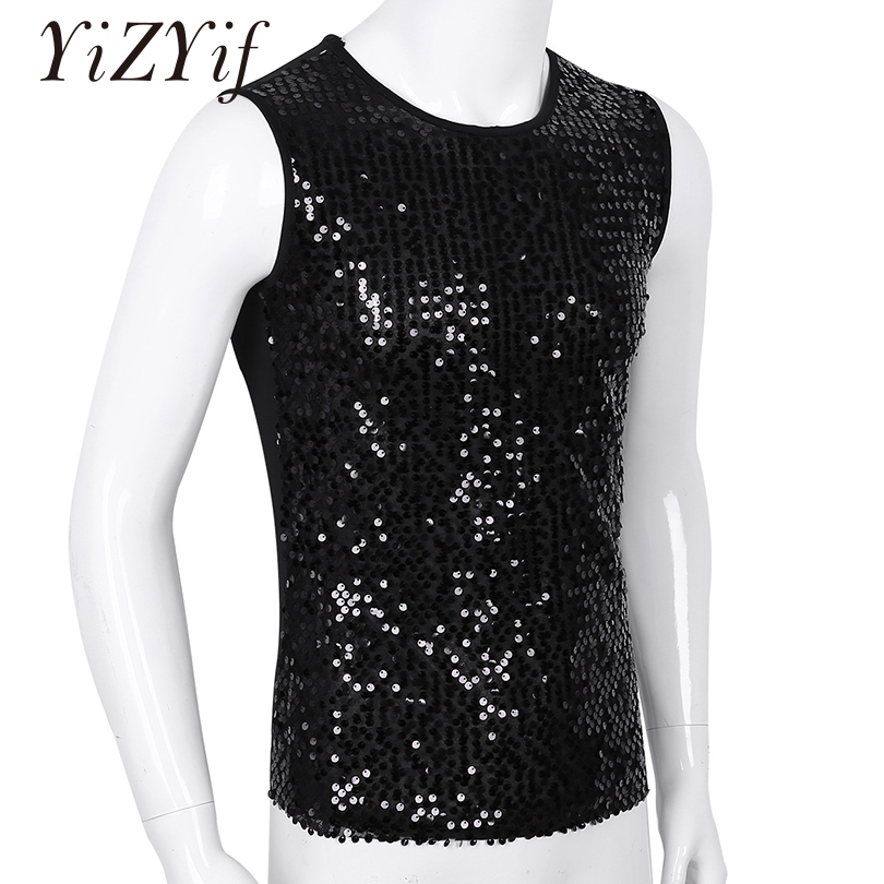 YiZYiF Men's Sequin   Tank     Top   Shiny Crop   top   Vest Crew Neck Slim Vest Sexy WetLook   Tank     Top   Clubwear Tee Muscle   Tank   Men Vest   Top