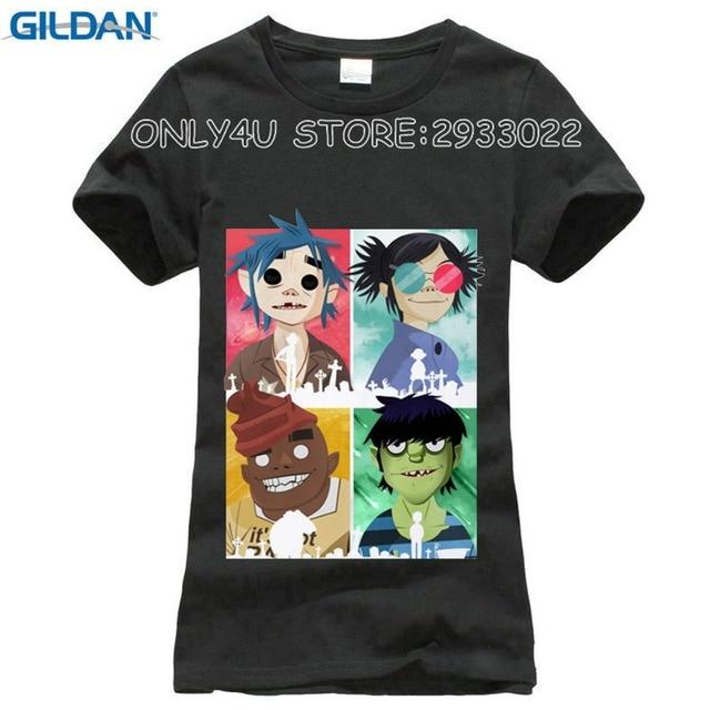 Mulheres camiseta Gorillaz 2017 Anime T-Shirt das Mulheres T-Shirt de Manga  Curta ad2b46682686f