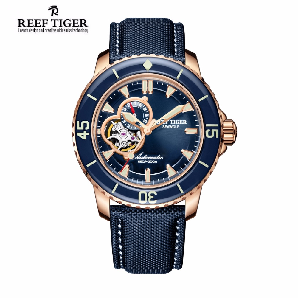 Reef Tiger/RT Luxury Dive Watches for Men Automatic Rose Gold Tone Blue Watches Nylon Strap RGA3039 yn e3 rt ttl radio trigger speedlite transmitter as st e3 rt for canon 600ex rt new arrival