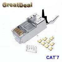 10 50 100x RJ45 Connector Cat6a Cat7 Shielded Network Connector RJ45 Plug 8p8c Terminal Split Type