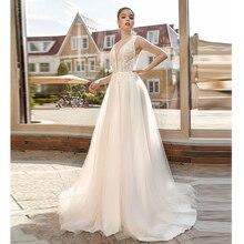 Verngo A-line Wedding Dress Appliques Gowns Elegant Bride V-neckline Princess Vestido De Noiva