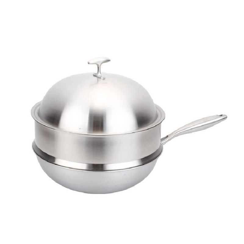 Free Shipping Wok United 5 Ply Material Cooker Stainless Steel Cookware Non Stick Flat Bottom Pot No Coating Smokeless In Woks From Home Garden On