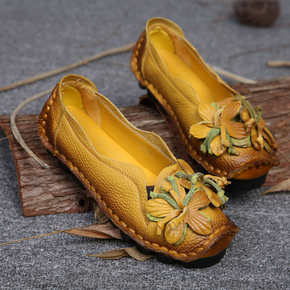 New Autumn Flowers Handmade Shoes Women's Floral Soft Flat Bottom Shoes Casual Sandals Folk Style Women Genuine Leather Shoes
