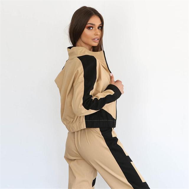 Women's Color Block Sports Bomber Jacket and Sweatpants Set  S-L
