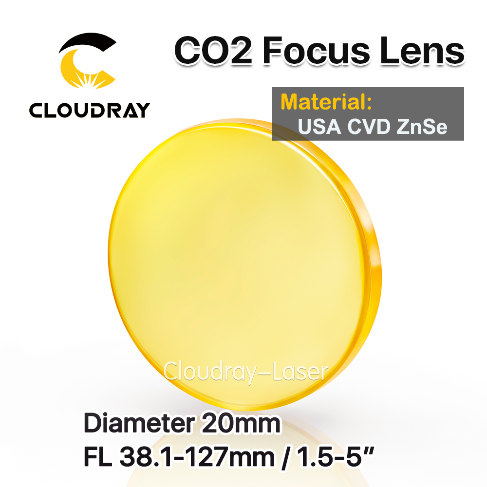 Cloudray USA CVD ZnSe Focus Lens D20 FL38.1/50.8/63.5/76.2/101.6/127mm for CO2 Laser Engraving Cutting Machine Free Shipping free shipping cn znse co2 laser focus lens diameter 20mm focal length 101 6mm for co2 laser cutting and engraving machine