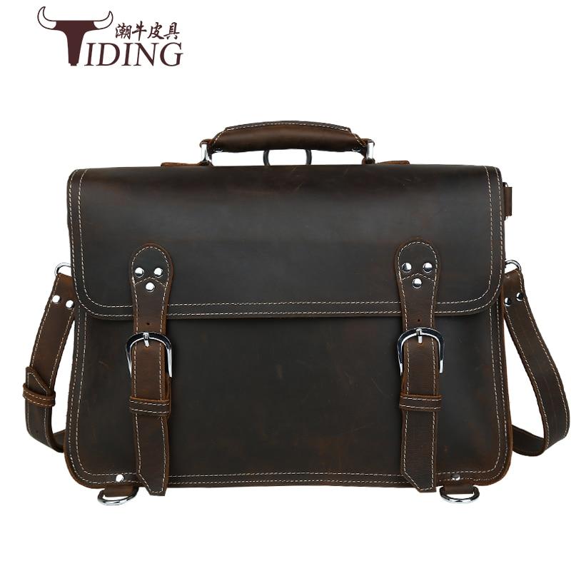 Crazy Horse Genuine Leather Men Bag Men Briefcase Male Leather Business Laptop Bag Crossbody Bags For Man Handbags 15