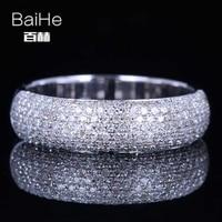 Baihe SOLID 14 К из белого золота (au585) 0.55ct CERTIFIED H/SI круглая огранка из натуральной со стразами Свадебные Для женщин Повседневное/Спортивная кольцо