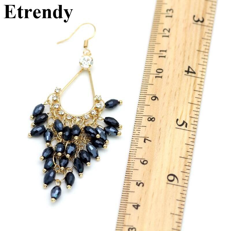 Ny Erklæring Crystal Perler Lange Øreringe For Kvinder Bijoux - Mode smykker - Foto 5