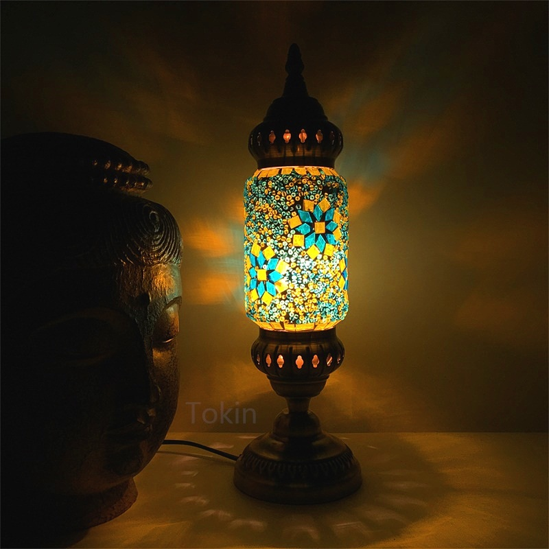 New style Turkish mosaic table Lamp vintage art deco Handcrafted lamparas de mesa Glass romantic bed