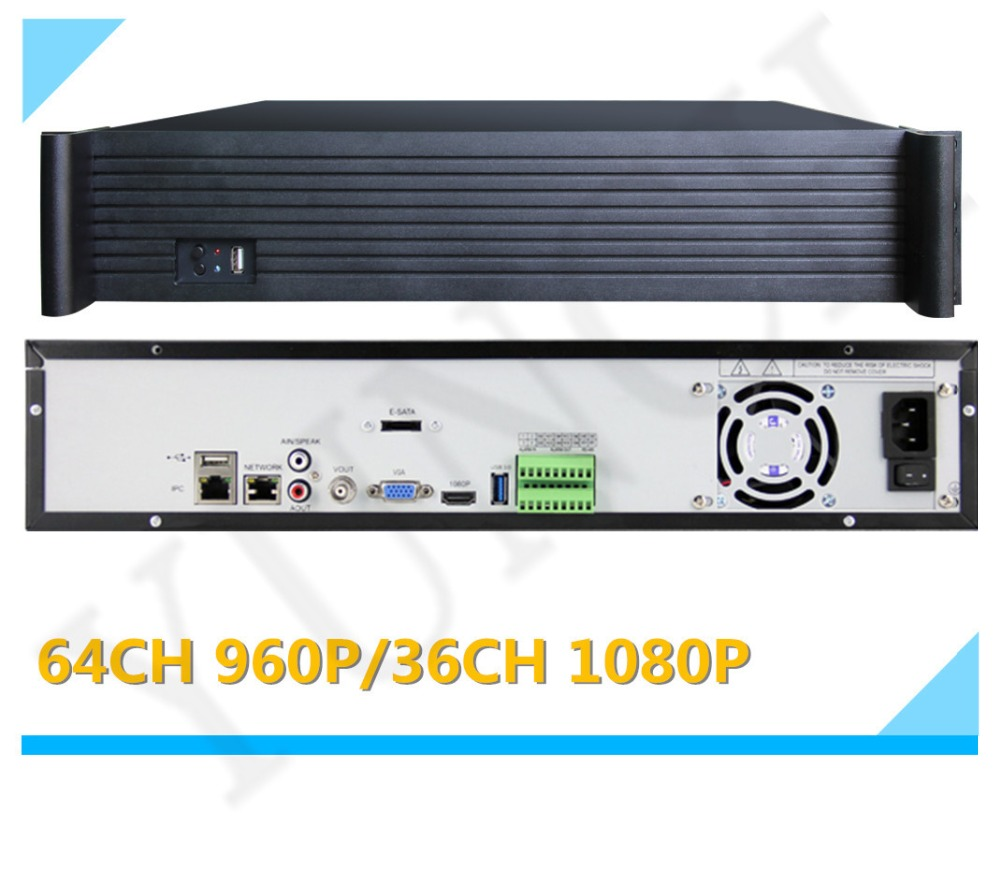 YUNCH 2U 64CH 960P 36CH 1080P 25CH 3 0MP 16CH 5 0MP 9HDD Onvif NVR at