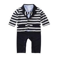Newborn Clothing Sets Stripe Jacket Shirt Romper+Coat Set Gentleman Suit Infant Jumpsuit Baby Boys Clothes Outfit