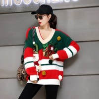 2018 New Christmas Snow Man Striped Sequins Loose Sweater Winter Women Warm Red Long Sleeve Long Knitted Pullover Top
