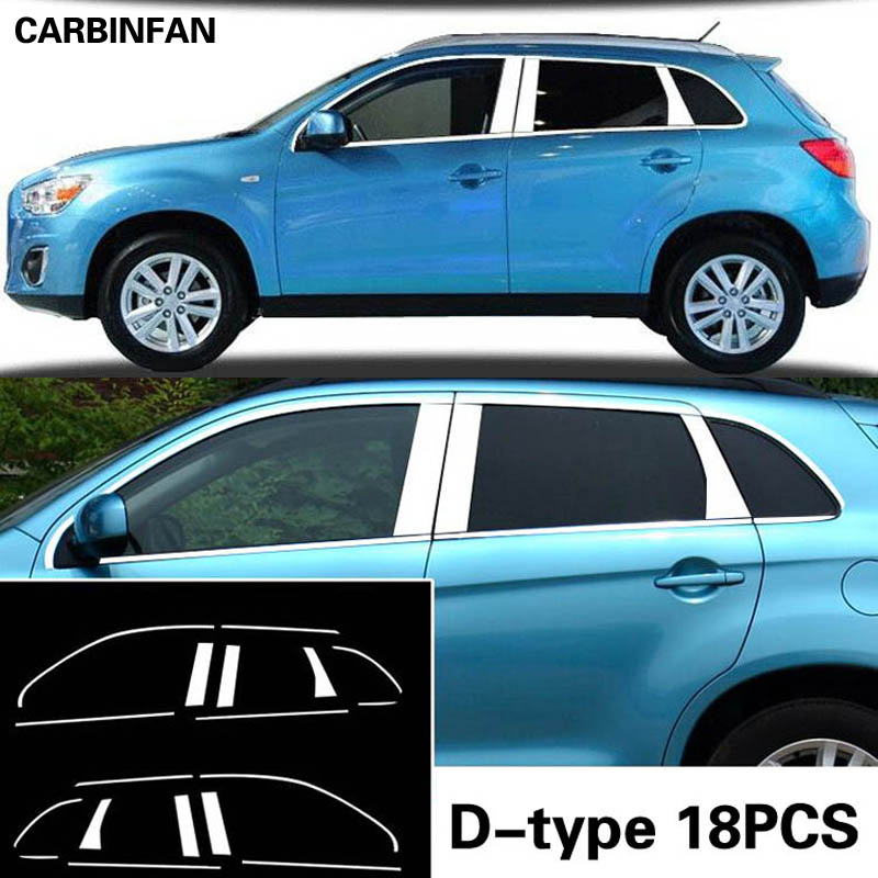 Car Accessories high quality chrome stic Stainless Steel Styling Full Window Trim Decoration Strips For Mitsubishi