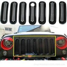7 шт./лот стайлинга автомобилей Передняя украшение решетки крышка автомобильные аксессуары для 2007-2014 Jeep Wrangler Rubicon Jk автомобилей