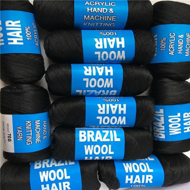 Darmowa wysyłka hurtowa nowa brazylijska wełna włosy afryki przędzy do oplatania 10 piłek/lot 70g/piłka