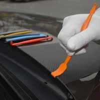 FOSHIO de fibra de carbono vinilo de coche Moto Kit de herramientas palo magnética escobilla de goma película embalaje magnético raspador de La etiqueta engomada del coche herramientas de peinado