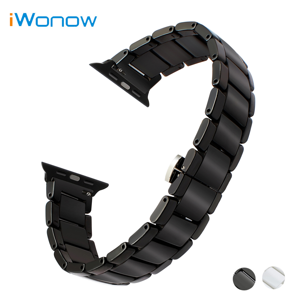 Full Ceramic Watchband for 38mm 42mm iWatch Apple Watch Sport Edition Butterfly Clasp Band Wrist Strap Link Bracelet Black White 6 colors luxury genuine leather watchband for apple watch sport iwatch 38mm 42mm watch wrist strap bracelect replacement