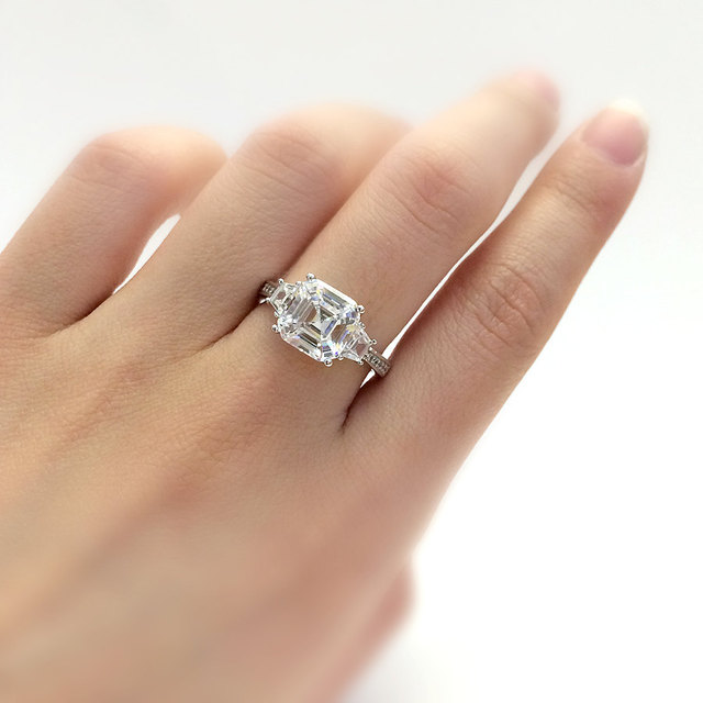 3.07CTW Simulated Diamond 925 Sterling Silver with Gold Wedding Engagement Ring
