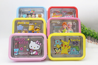 New Cartoon Stainless Steel Students Lunch Box 4 Colors Kids Lunch Tray 5 Cells School Lunch