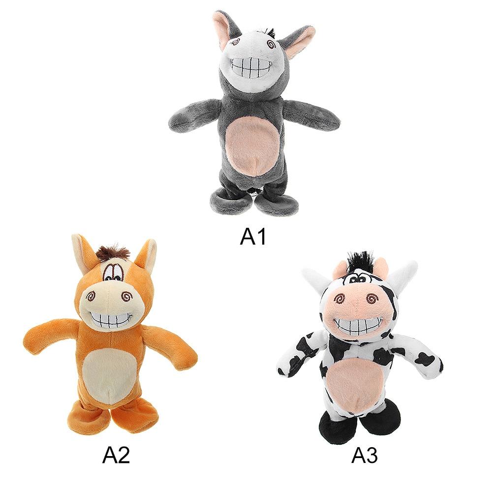 New Electronic Talking Donkey Cows Plush Toy Cute Speak Music And Walk Dolls Pets Plush Toys Talking Walk Animals