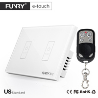 FUNRY US Standard 2 Gang 1 Way Crystal Glass Panel Touch Switch Wireless Remote Control Wall